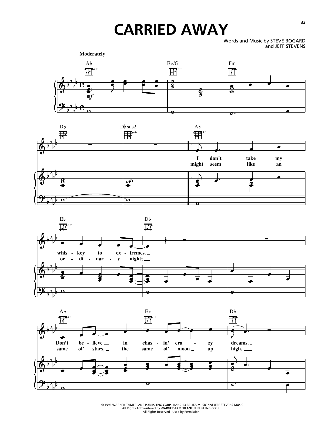 George Strait Carried Away sheet music notes and chords. Download Printable PDF.