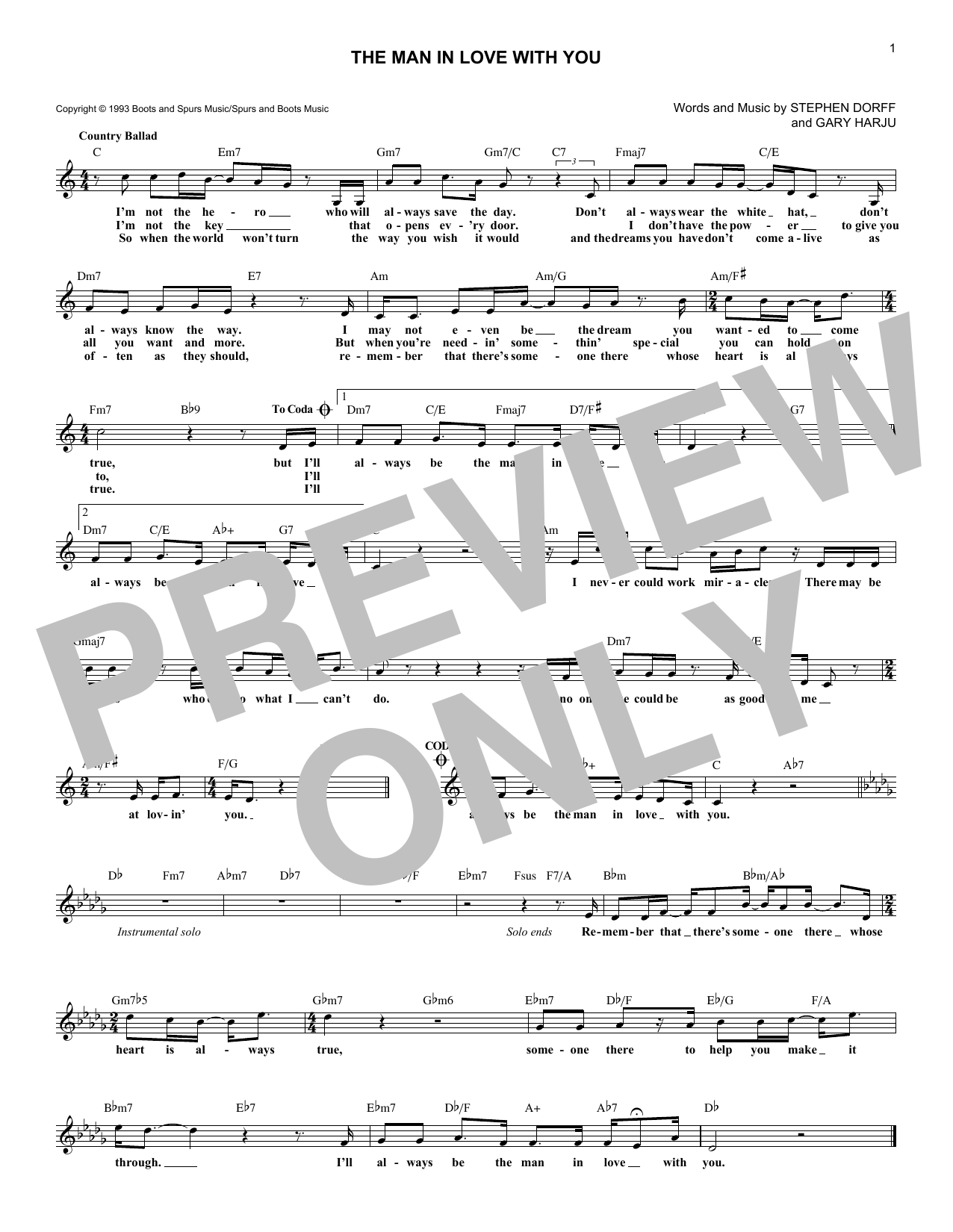 George Strait The Man In Love With You sheet music notes and chords. Download Printable PDF.