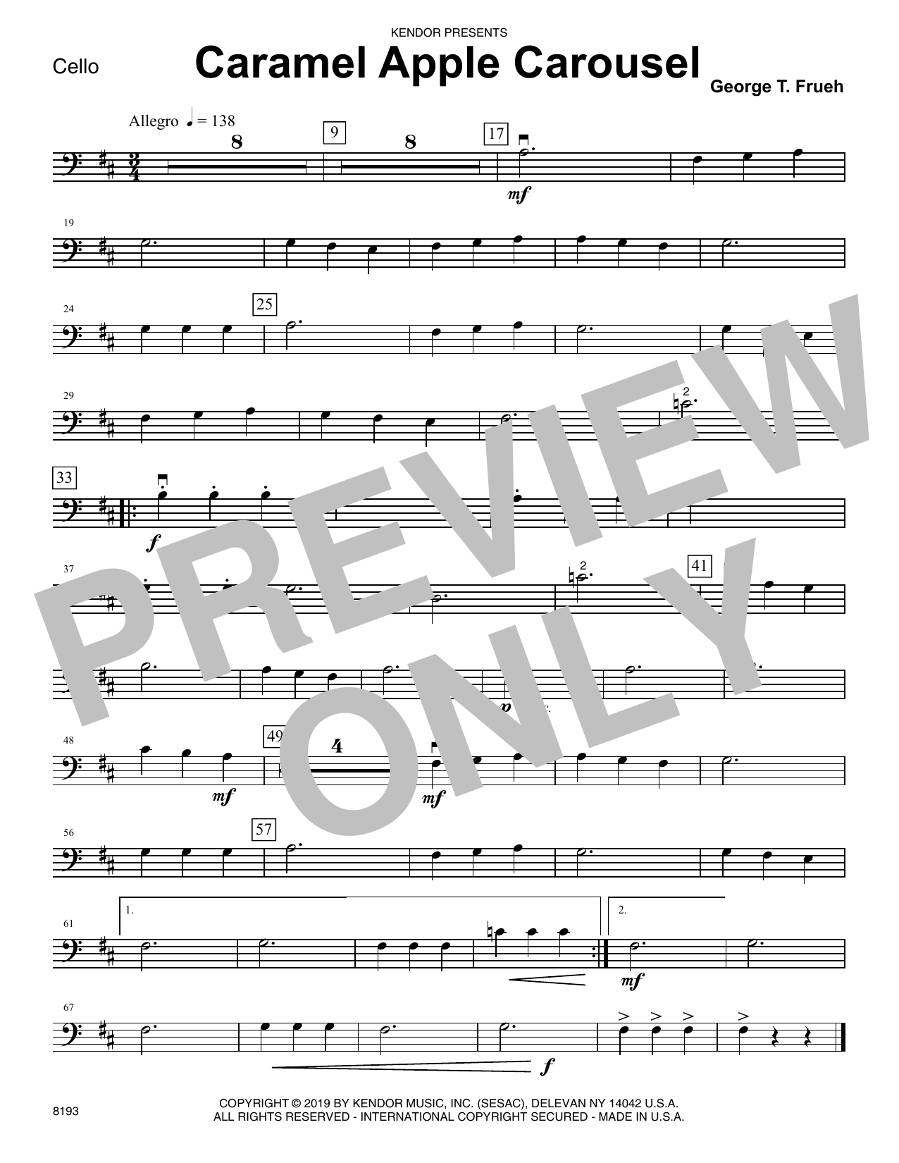 George T. Frueh Caramel Apple Carousel - Cello sheet music notes and chords. Download Printable PDF.