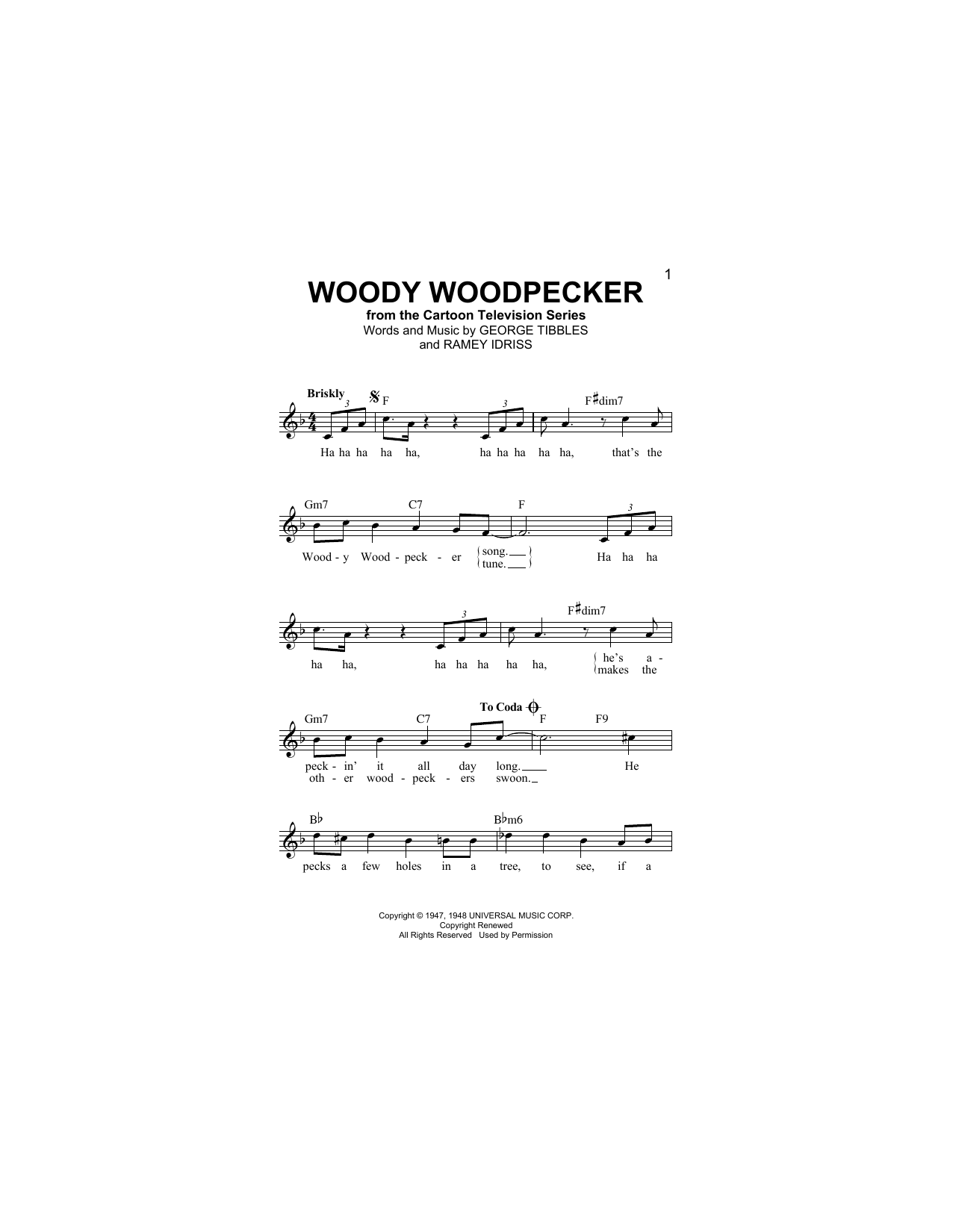 George Tibbles Woody Woodpecker sheet music notes and chords. Download Printable PDF.