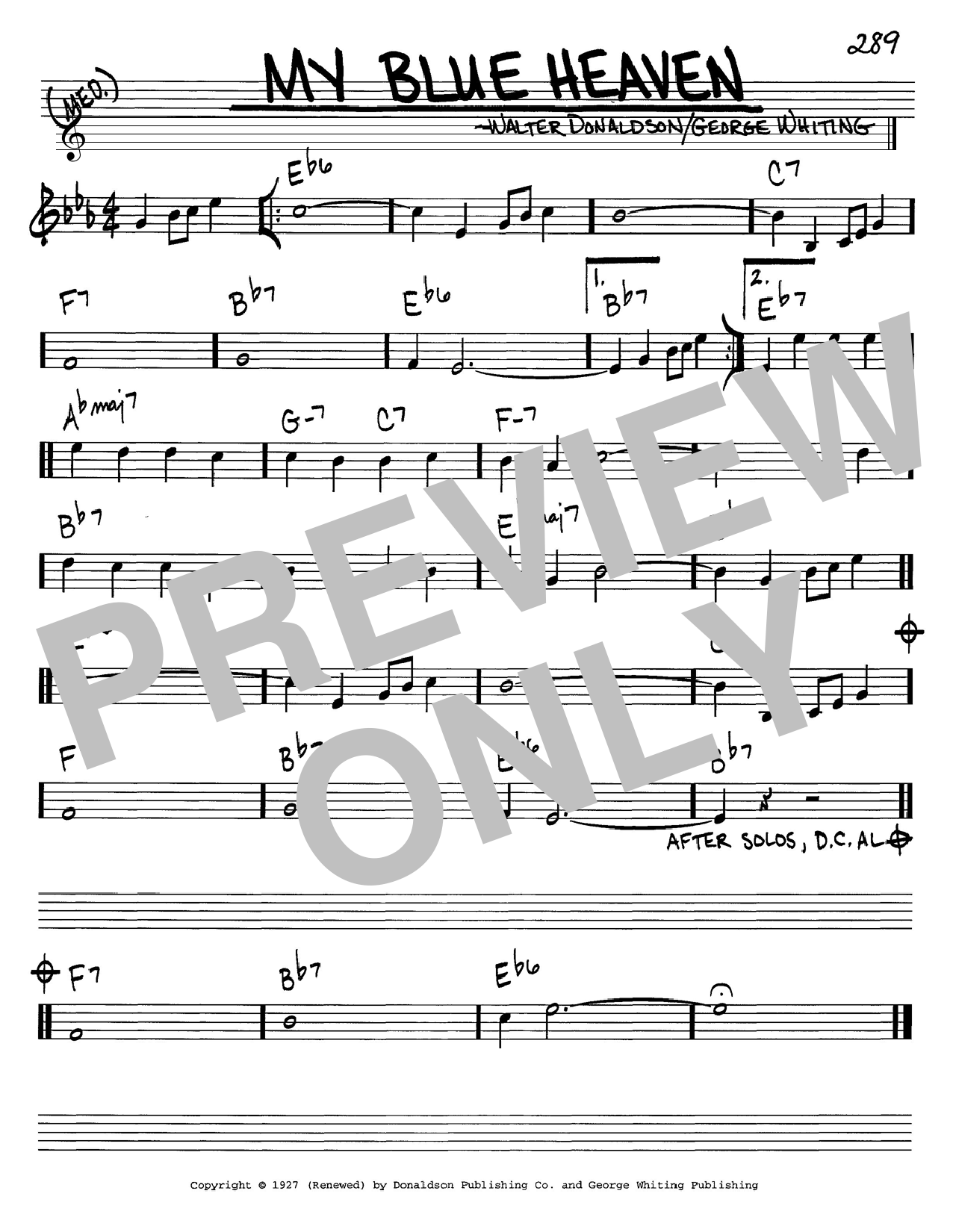 George Whiting My Blue Heaven sheet music notes and chords. Download Printable PDF.