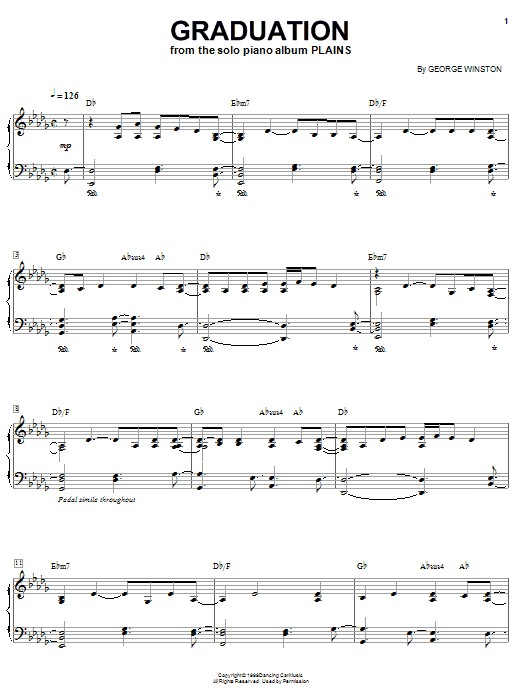 George Winston Graduation sheet music notes and chords. Download Printable PDF.