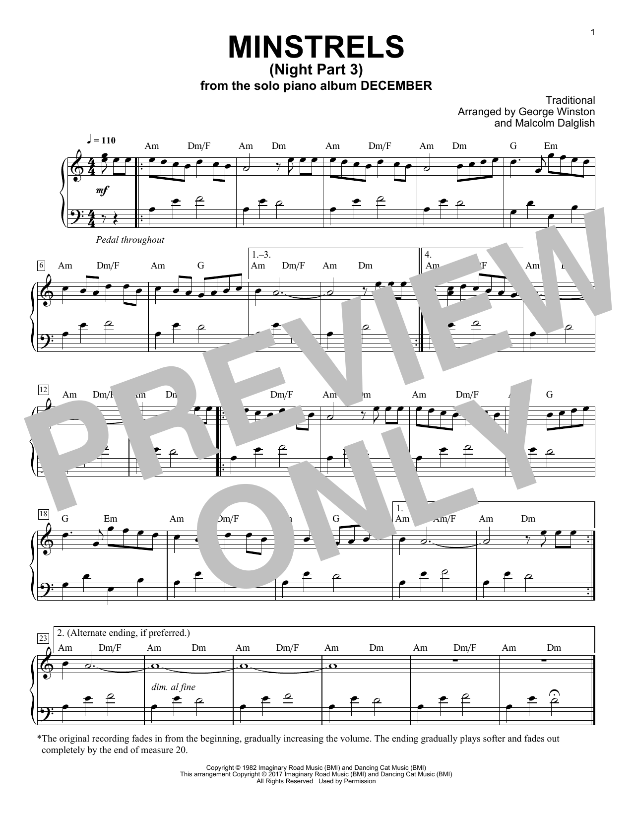George Winston Minstrels (Night Part 3) sheet music notes and chords