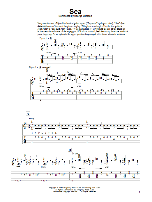 George Winston Sea sheet music notes and chords. Download Printable PDF.