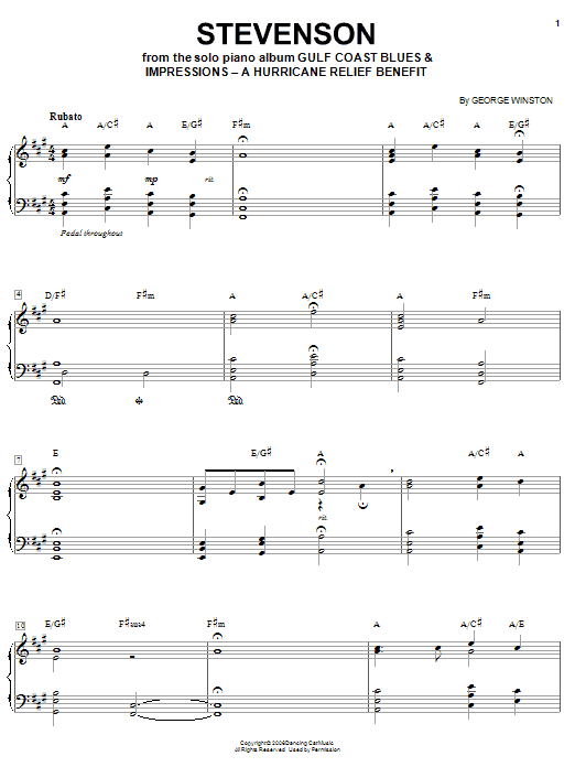 George Winston Stevenson sheet music notes and chords. Download Printable PDF.