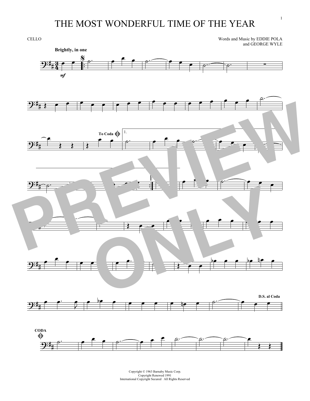 George Wyle & Eddie Pola The Most Wonderful Time Of The Year sheet music notes and chords. Download Printable PDF.
