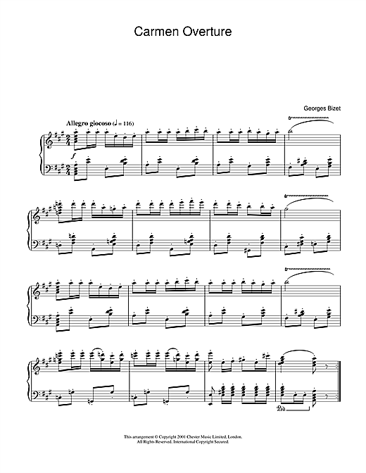 Georges Bizet Carmen Overture sheet music notes and chords