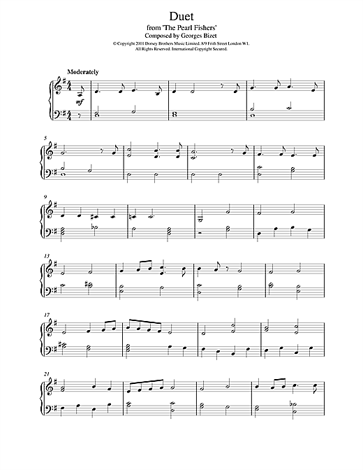 Georges Bizet Duet from The Pearl Fishers sheet music notes and chords