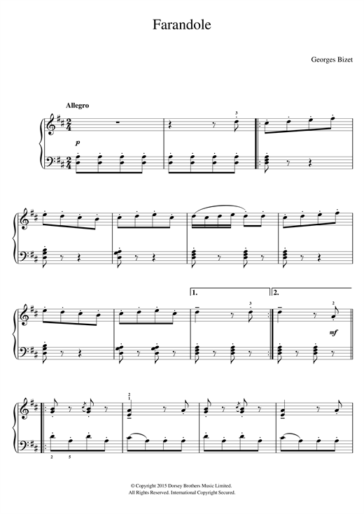 Georges Bizet Farandole (from 'L'Arlesienne') sheet music notes and chords