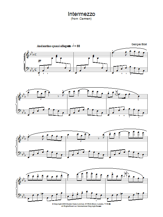 Georges Bizet Intermezzo from Carmen Act III sheet music notes and chords. Download Printable PDF.