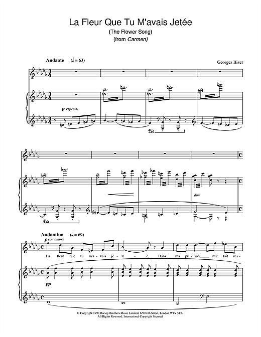 Georges Bizet La Fleur Que Tu M'avais Jetée (The Flower Song) (from Carmen) sheet music notes and chords
