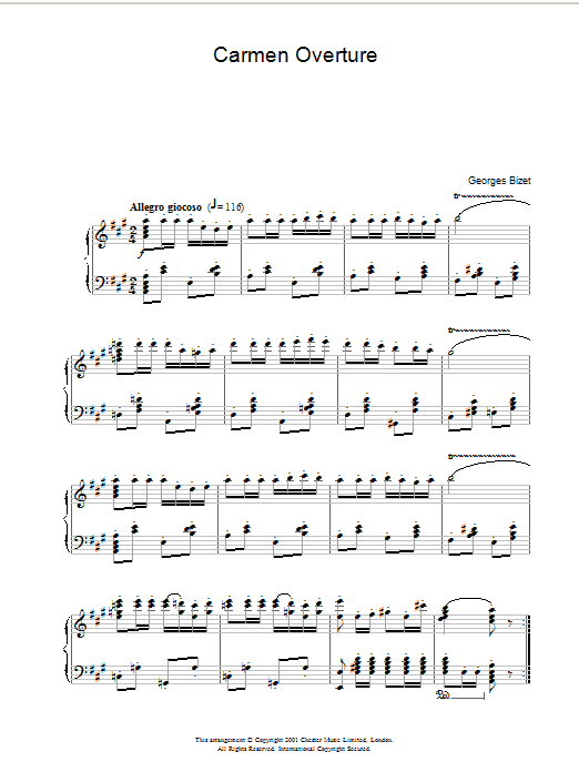Georges Bizet Carmen Overture sheet music notes and chords. Download Printable PDF.