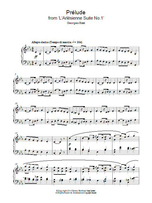 Georges Bizet Prelude (from 'L'Arlesienne') sheet music notes and chords. Download Printable PDF.