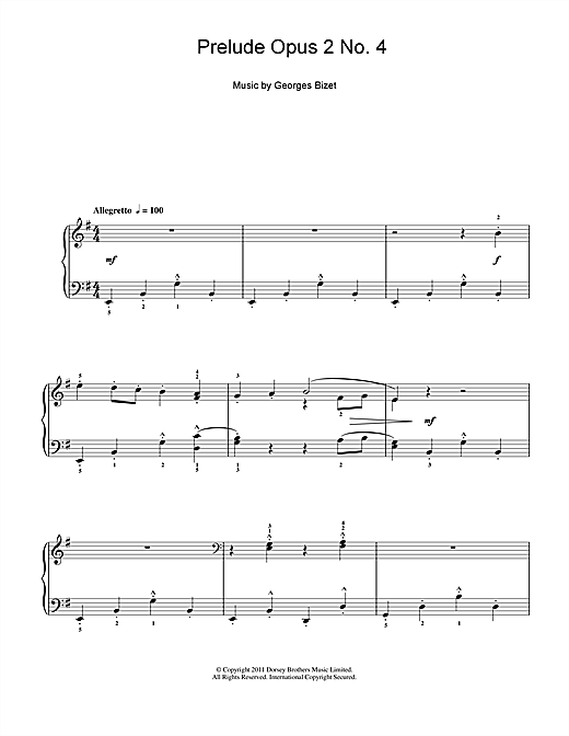 Georges Bizet Prelude Opus 2 No. 4 sheet music notes and chords. Download Printable PDF.