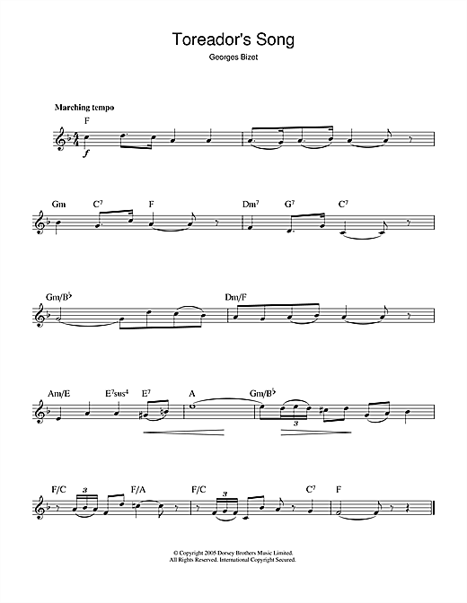 Georges Bizet Toreador's Song (from Carmen) sheet music notes and chords. Download Printable PDF.