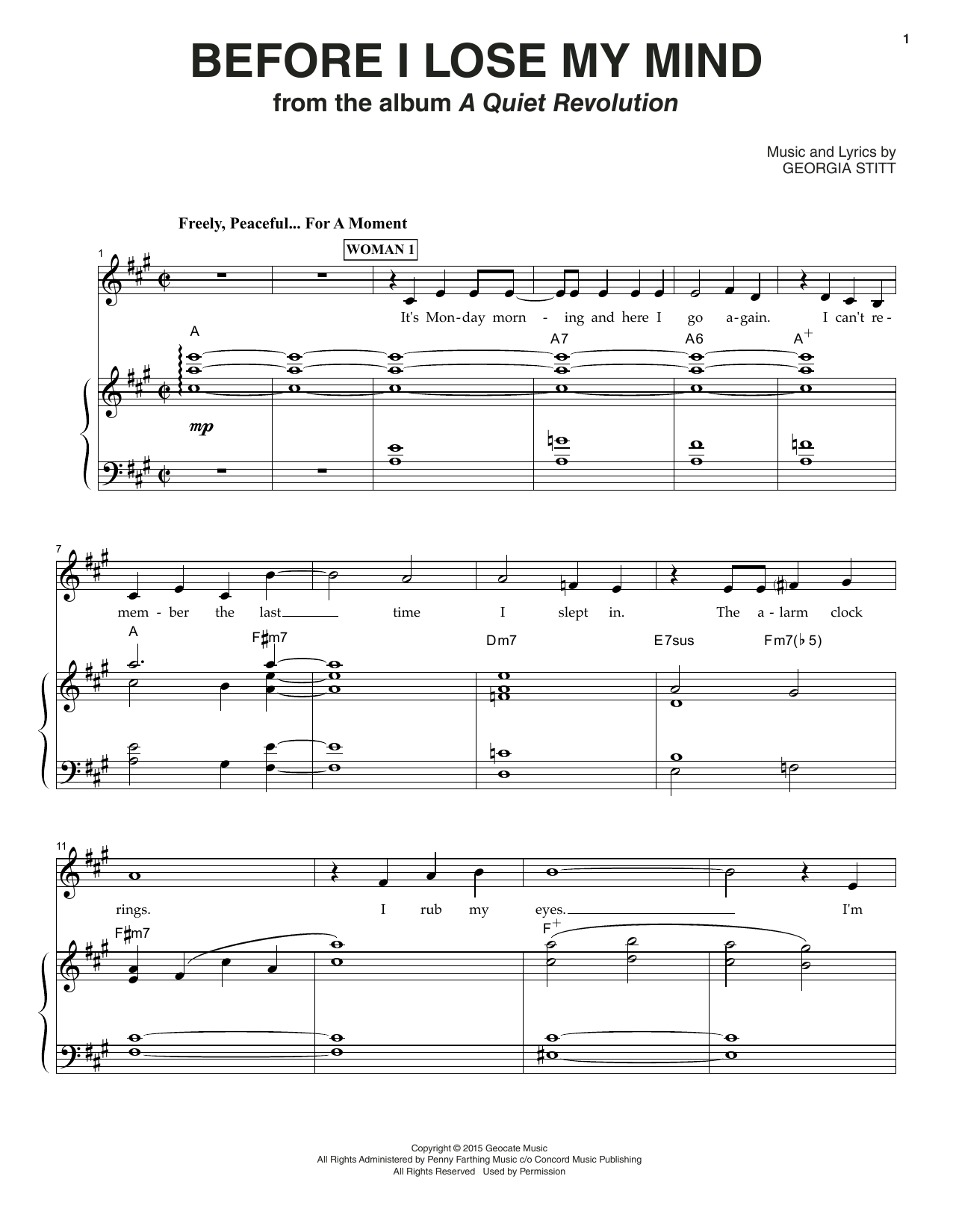 Georgia Stitt Before I Lose My Mind sheet music notes and chords. Download Printable PDF.