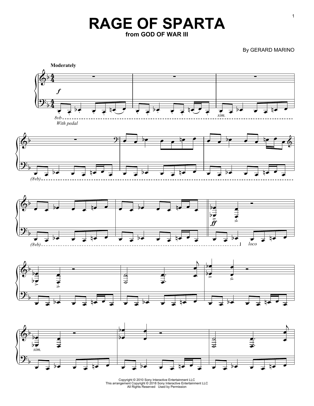 Gerard Marino Rage Of Sparta (from God of War III) sheet music notes and chords