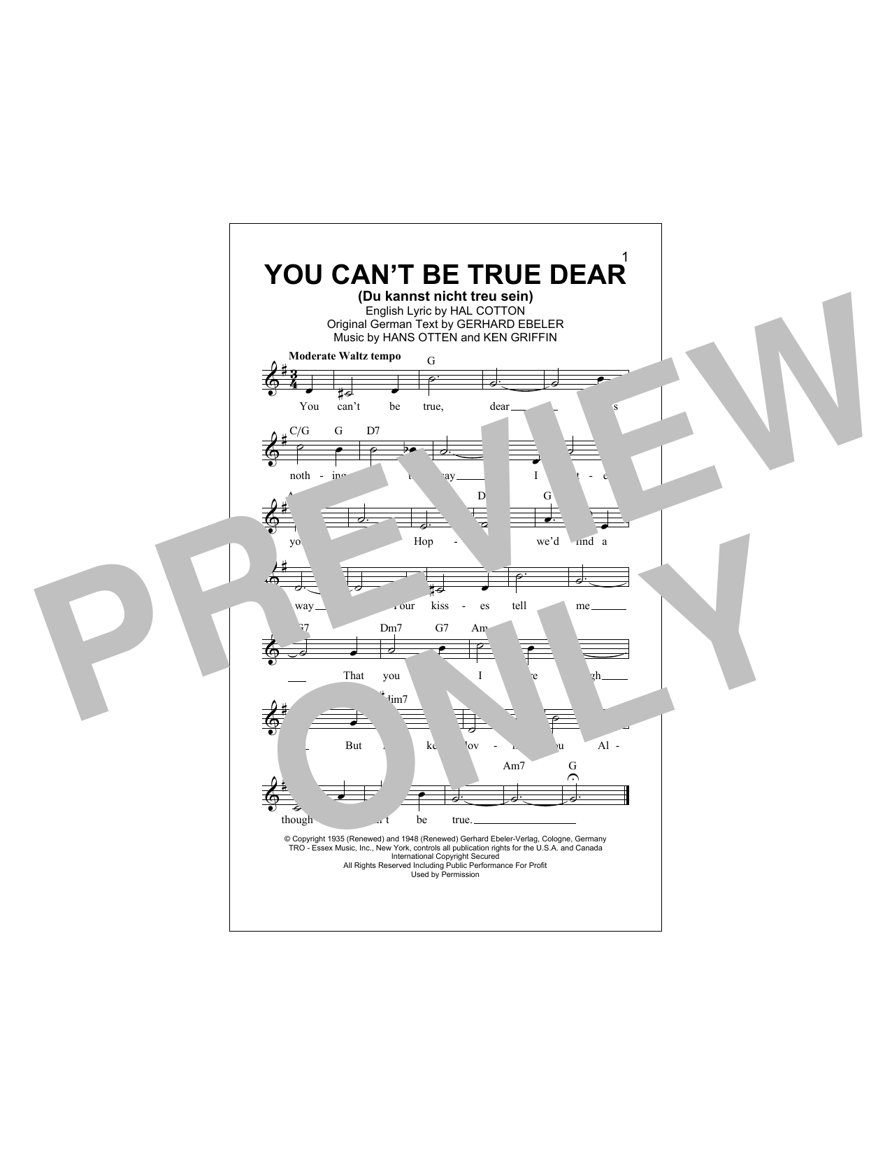 Gerhard Ebeler You Can't Be True Dear (Du Kannst Nicht Treu Sein) sheet music notes and chords. Download Printable PDF.