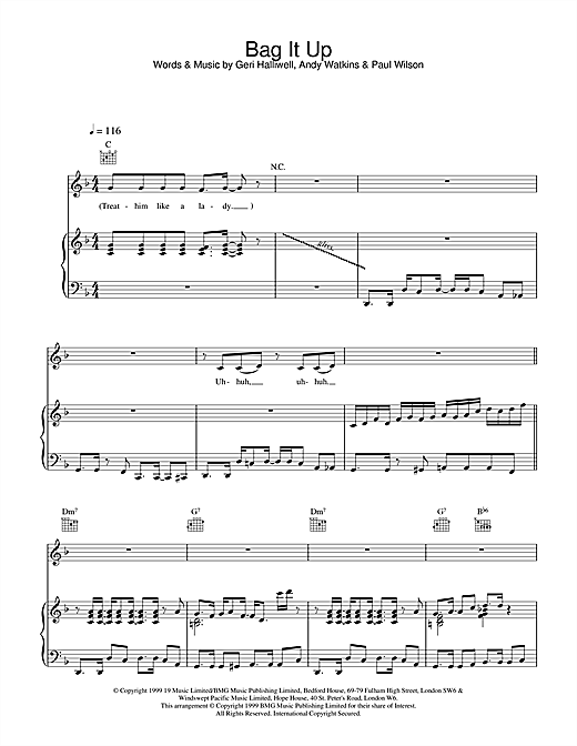 Geri Halliwell Bag It Up sheet music notes and chords. Download Printable PDF.