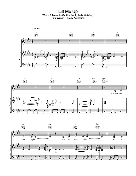 Geri Halliwell Lift Me Up sheet music notes and chords