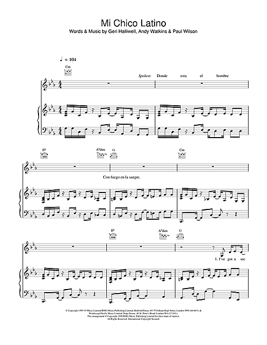 Geri Halliwell Mi Chico Latino sheet music notes and chords. Download Printable PDF.