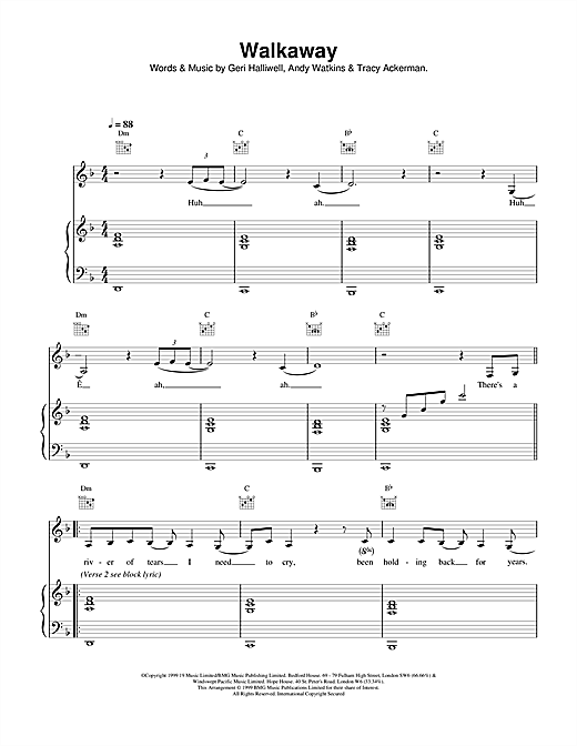 Geri Halliwell Walkaway sheet music notes and chords. Download Printable PDF.