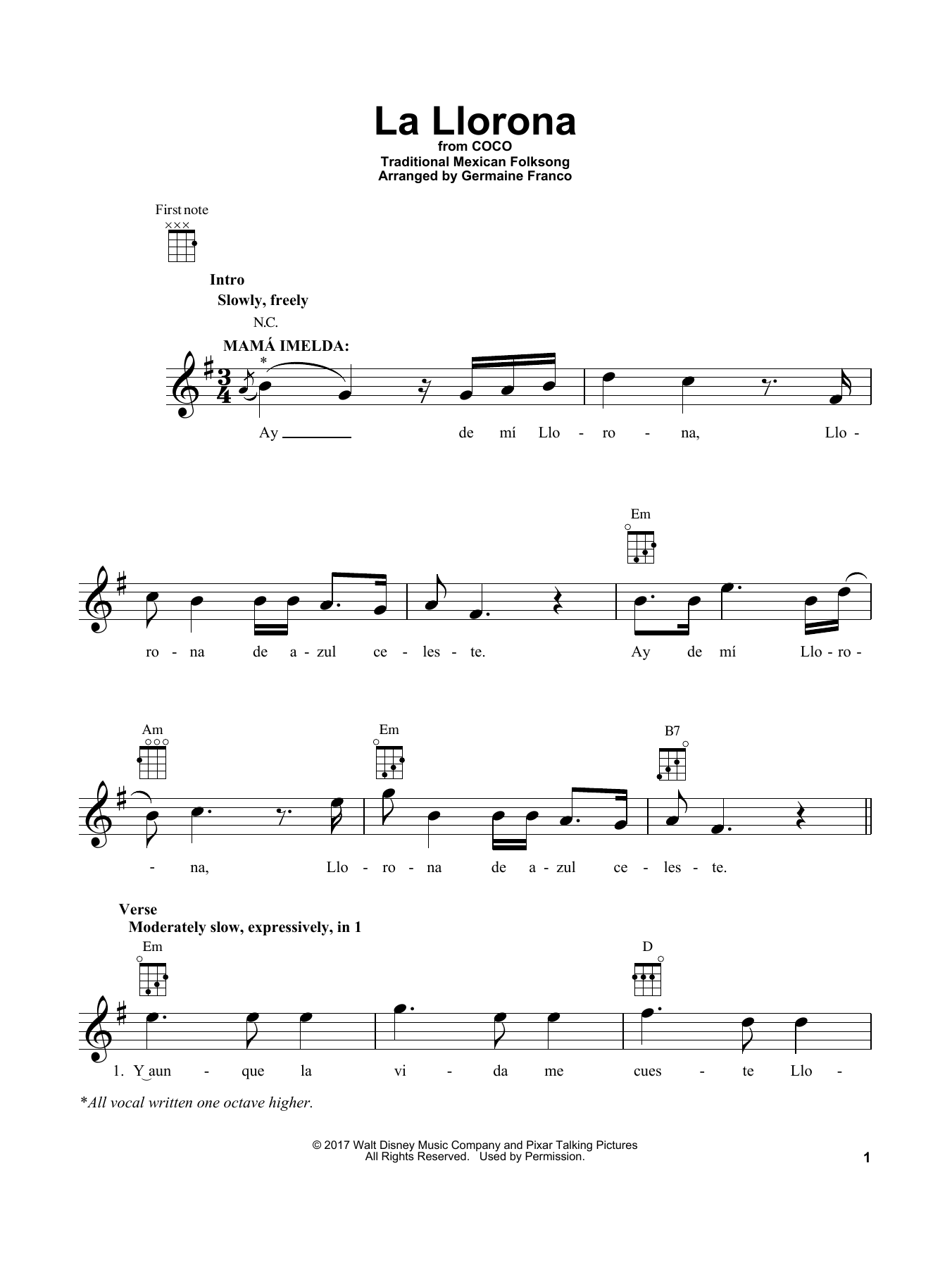Germaine Franco La Llorona (from 'Coco') sheet music notes and chords