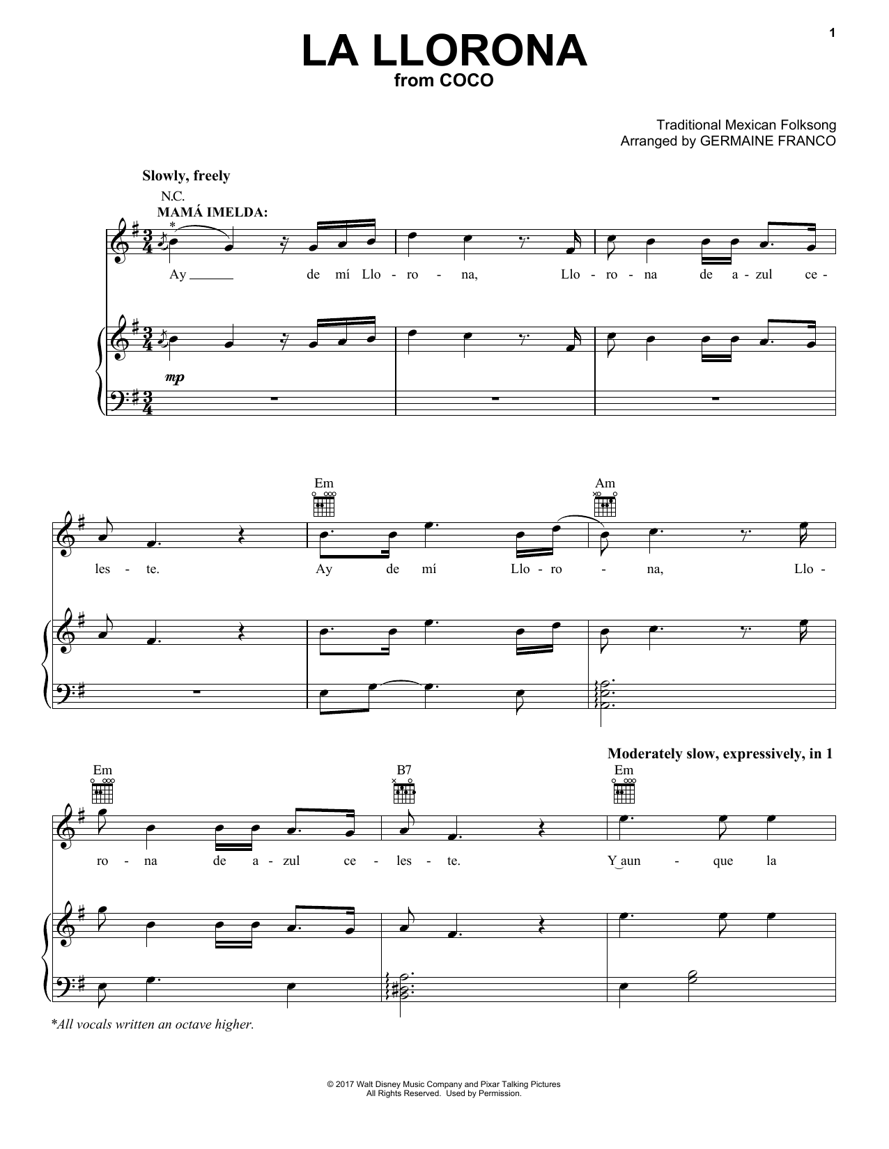 Germaine Franco La Llorona (from Coco) sheet music notes and chords. Download Printable PDF.