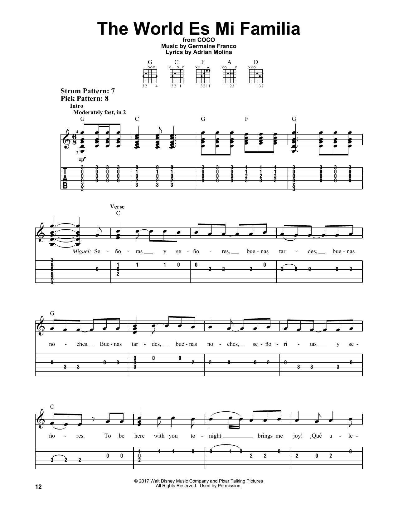Germaine Franco The World Es Mi Familia sheet music notes and chords