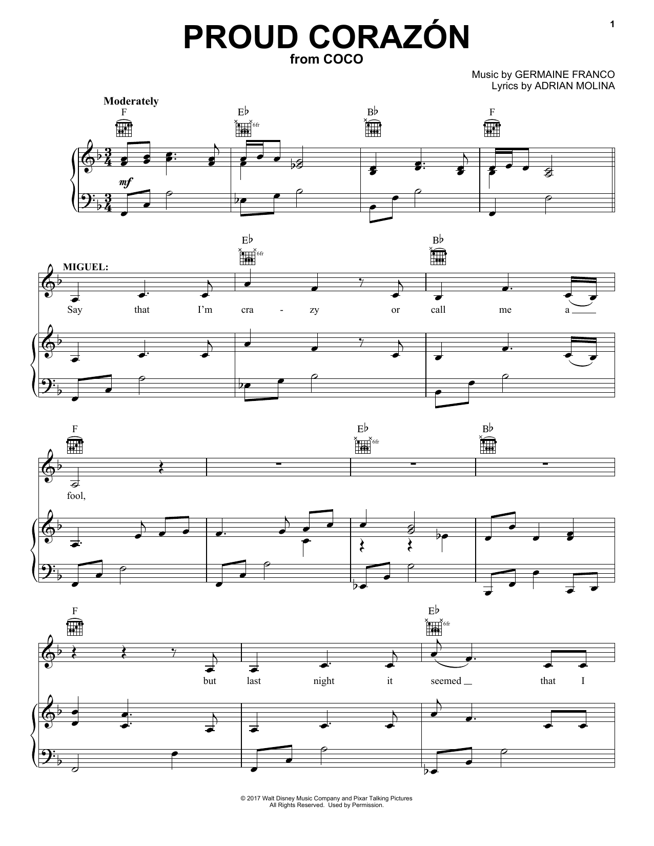 Germaine Franco & Adrian Molina Proud Corazon (from Coco) sheet music notes and chords. Download Printable PDF.