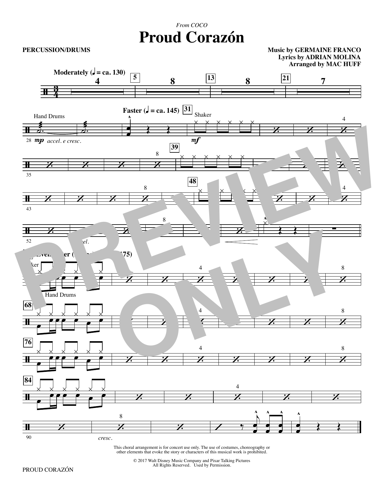 Germaine Franco & Adrian Molina Proud Corazon (from Coco) (arr. Mac Huff) - Percussion sheet music notes and chords. Download Printable PDF.