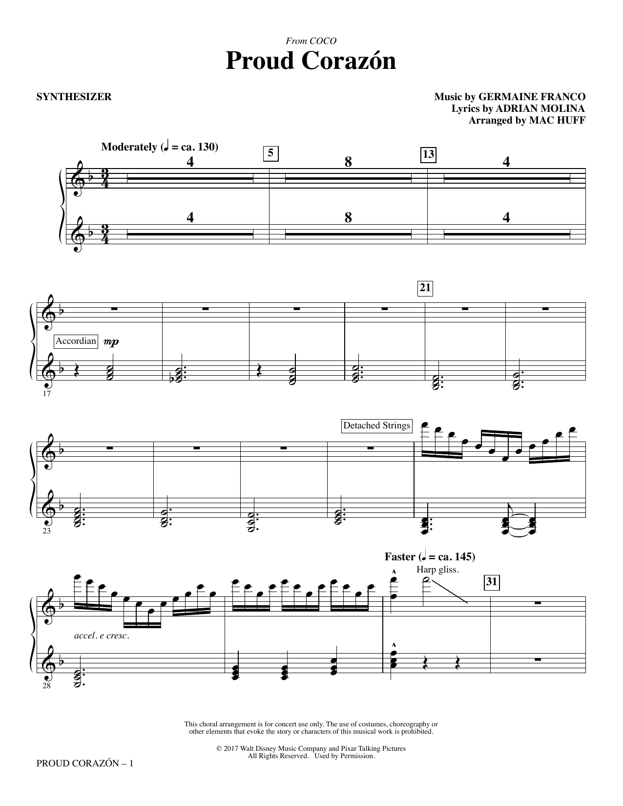 Germaine Franco & Adrian Molina Proud Corazon (from Coco) (arr. Mac Huff) - Synthesizer sheet music notes and chords. Download Printable PDF.