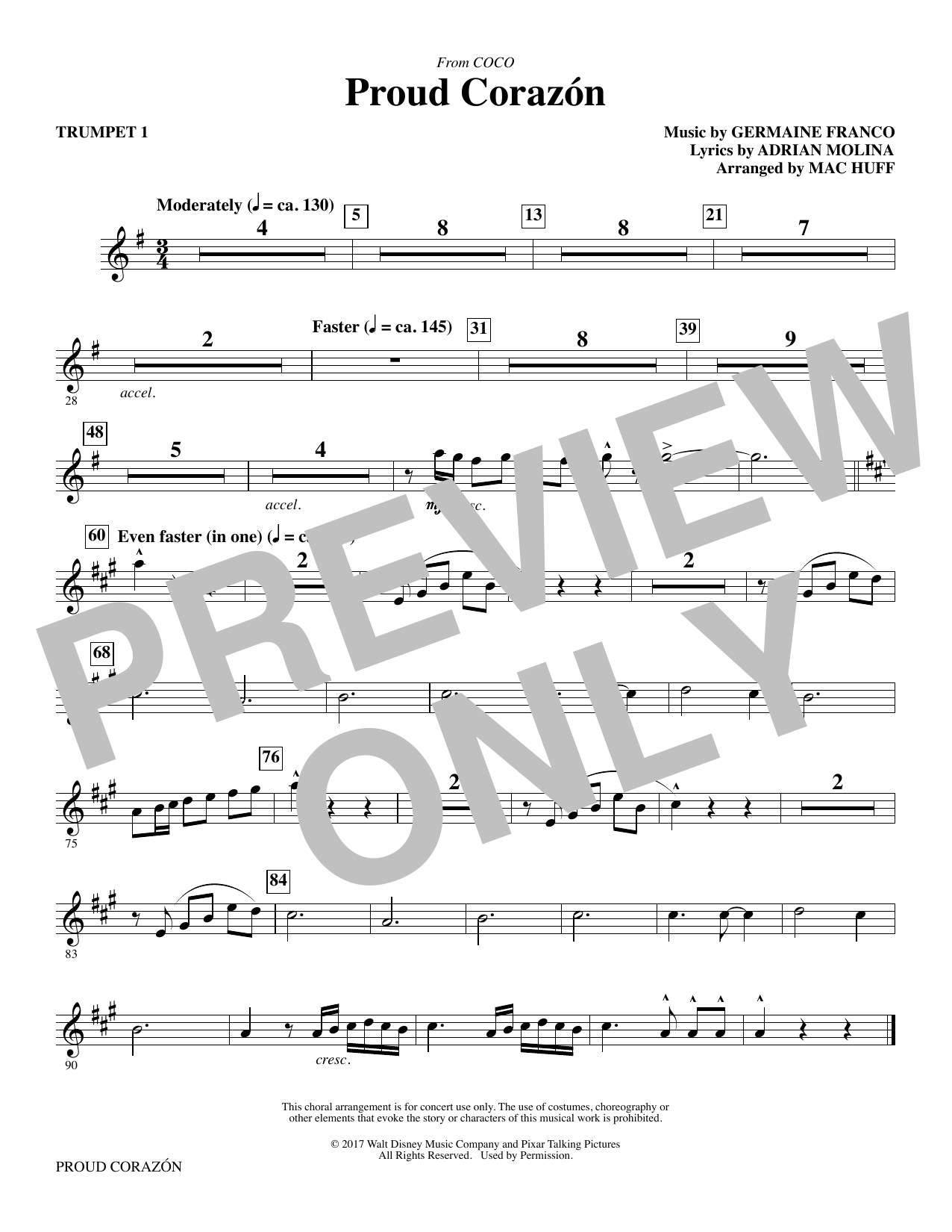 Germaine Franco & Adrian Molina Proud Corazon (from Coco) (arr. Mac Huff) - Trumpet 1 sheet music notes and chords. Download Printable PDF.