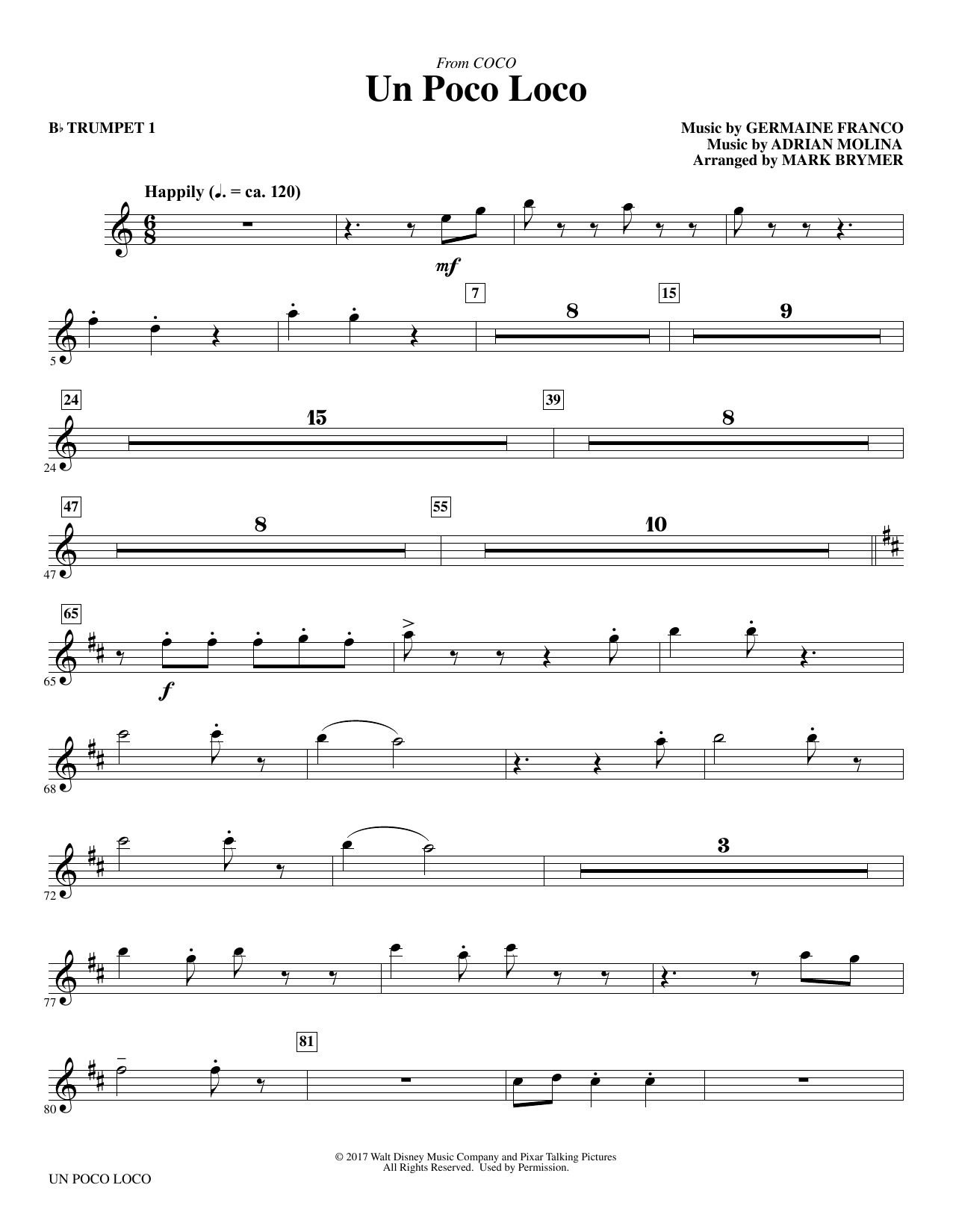 Germaine Franco & Adrian Molina Un Poco Loco (from Coco) (arr. Mark Brymer) - Trumpet 1 sheet music notes and chords. Download Printable PDF.