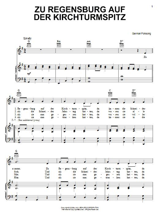 German Folk Song Zu Regensburg Auf Der Kirchturmspitz sheet music notes and chords