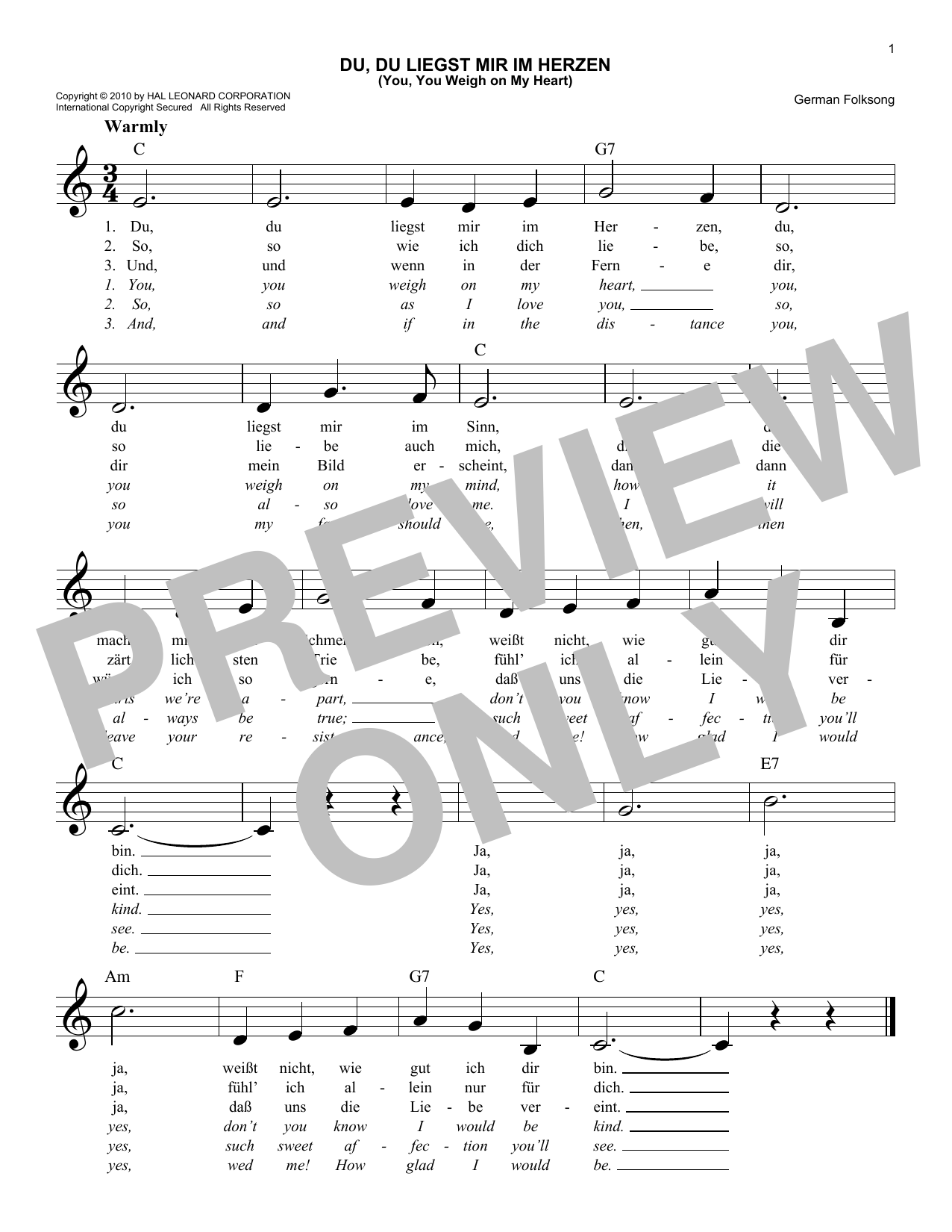 German Folk Song Du, Du Liegst Mir Im Herzen (You, You Weigh On My Heart) sheet music notes and chords. Download Printable PDF.