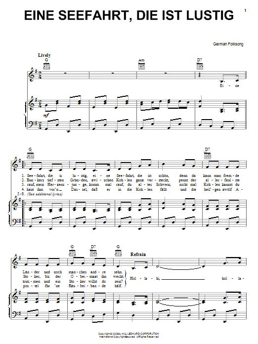 German Folk Song Eine Seefahrt, Die Ist Lustig sheet music notes and chords. Download Printable PDF.