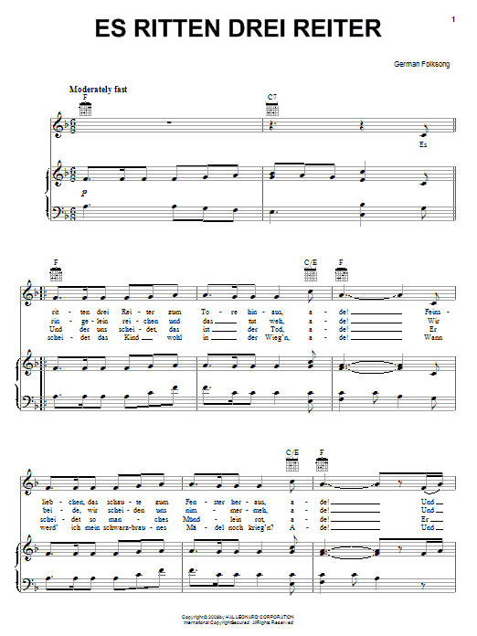 German Folk Song Es Ritten Drei Reiter (Three Knights Rode Forth) sheet music notes and chords. Download Printable PDF.