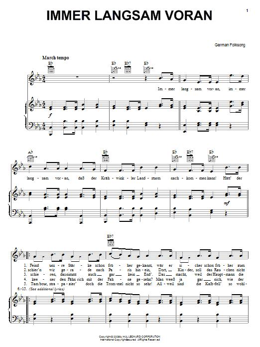 German Folk Song Immer Langsam Voran sheet music notes and chords. Download Printable PDF.