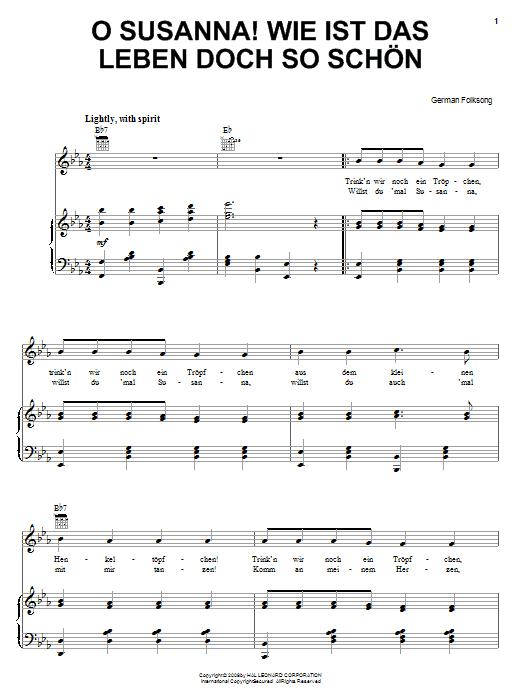German Folk Song O Susanna! Wie Ist Das Leben So Schon sheet music notes and chords. Download Printable PDF.