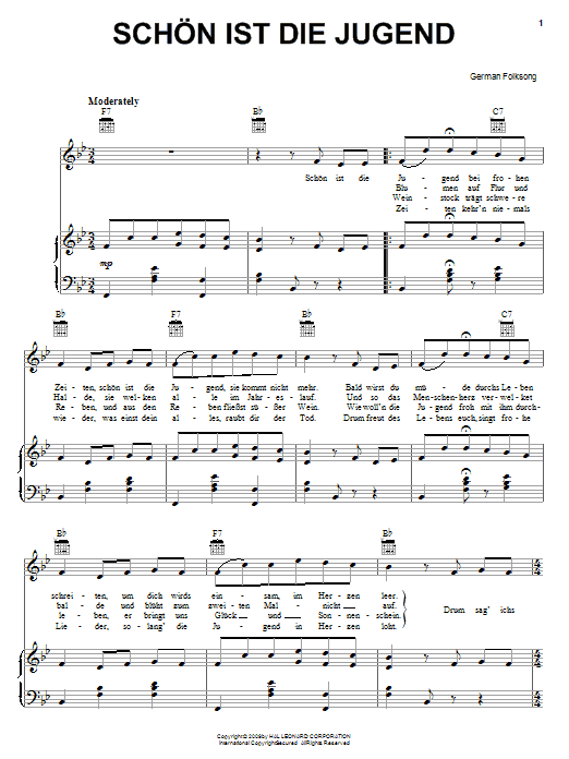 German Folk Song Schon Ist Die Jugend (Youth, It Is Beautiful) sheet music notes and chords. Download Printable PDF.