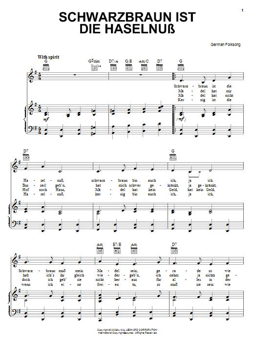 German Folk Song Schwarzbraun Ist Die Haselnuss sheet music notes and chords. Download Printable PDF.