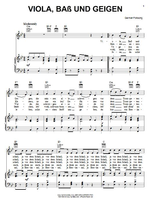German Folk Song Viola, Bass Und Geigen sheet music notes and chords. Download Printable PDF.