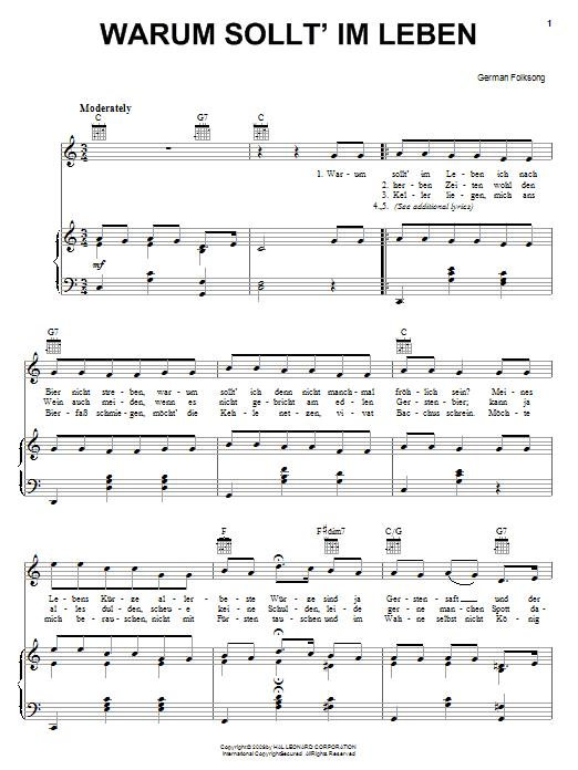 German Folk Song Warum Sollt' Im Leben sheet music notes and chords. Download Printable PDF.
