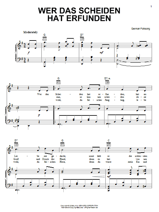 German Folksong Wer Das Scheiden Hat Erfunden (He Knew Not To Love) sheet music notes and chords. Download Printable PDF.