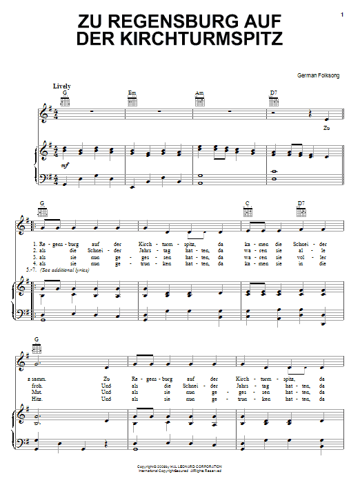 German Folk Song Zu Regensburg Auf Der Kirchturmspitz sheet music notes and chords. Download Printable PDF.