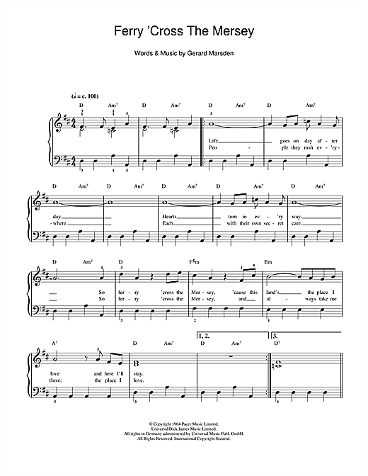 Gerry And The Pacemakers Ferry 'Cross The Mersey sheet music notes and chords. Download Printable PDF.