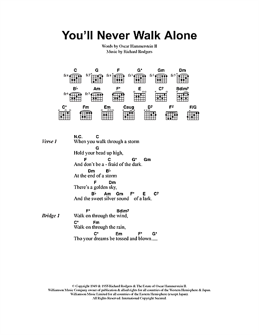 Gerry And The Pacemakers You'll Never Walk Alone sheet music notes and chords