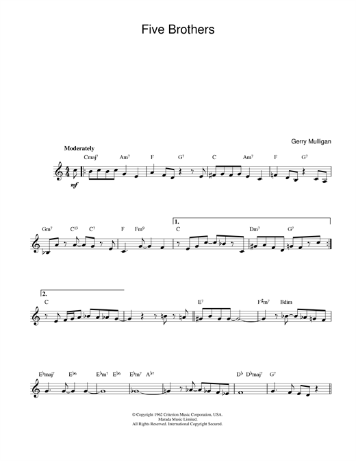 Gerry Mulligan Five Brothers sheet music notes and chords