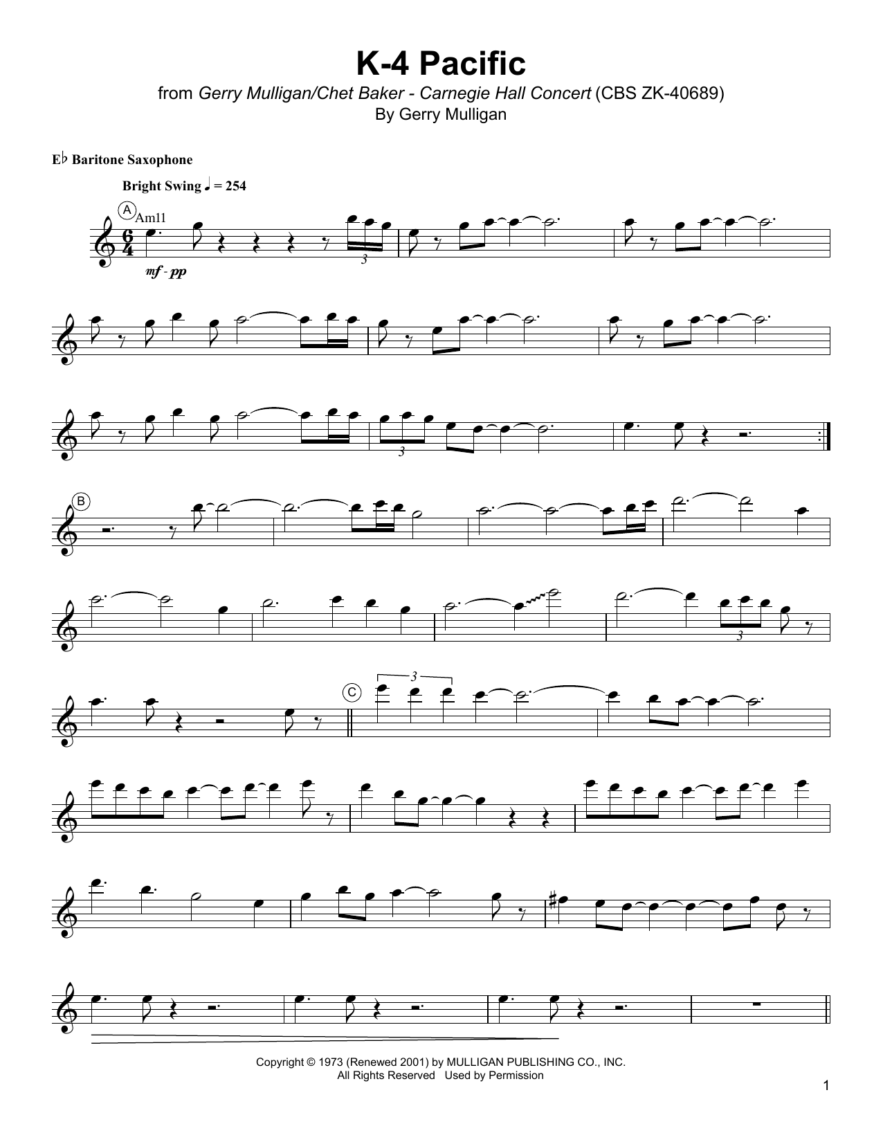 Gerry Mulligan K-4 Pacific sheet music notes and chords